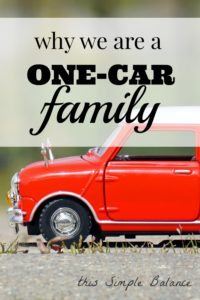 one car family in suburbs, downsizing to one car, one car family