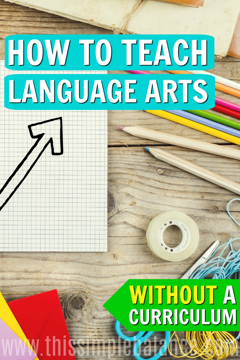Language Arts homeschooling curriculum can be really dry and boring, when it doesn't have to be! Use these 5 activities to teach your elementary students language arts without a curriculum, instead. They just might love language arts (and homeschooling, for that matter)! #relaxedhomeschooling #simplehomeschool