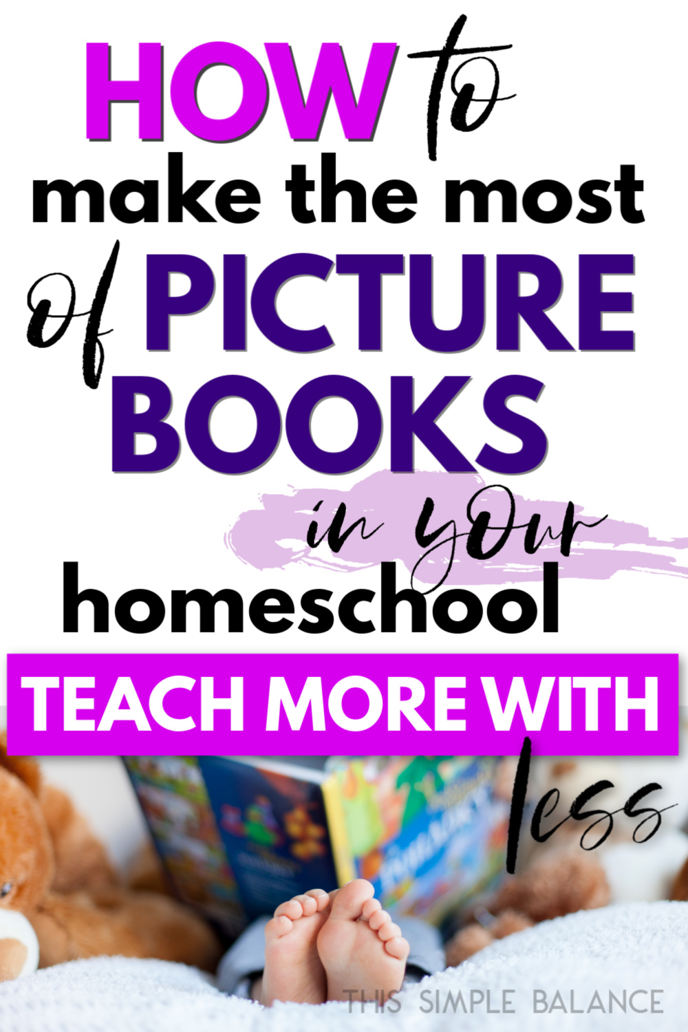 child reading a picture book in homeschool