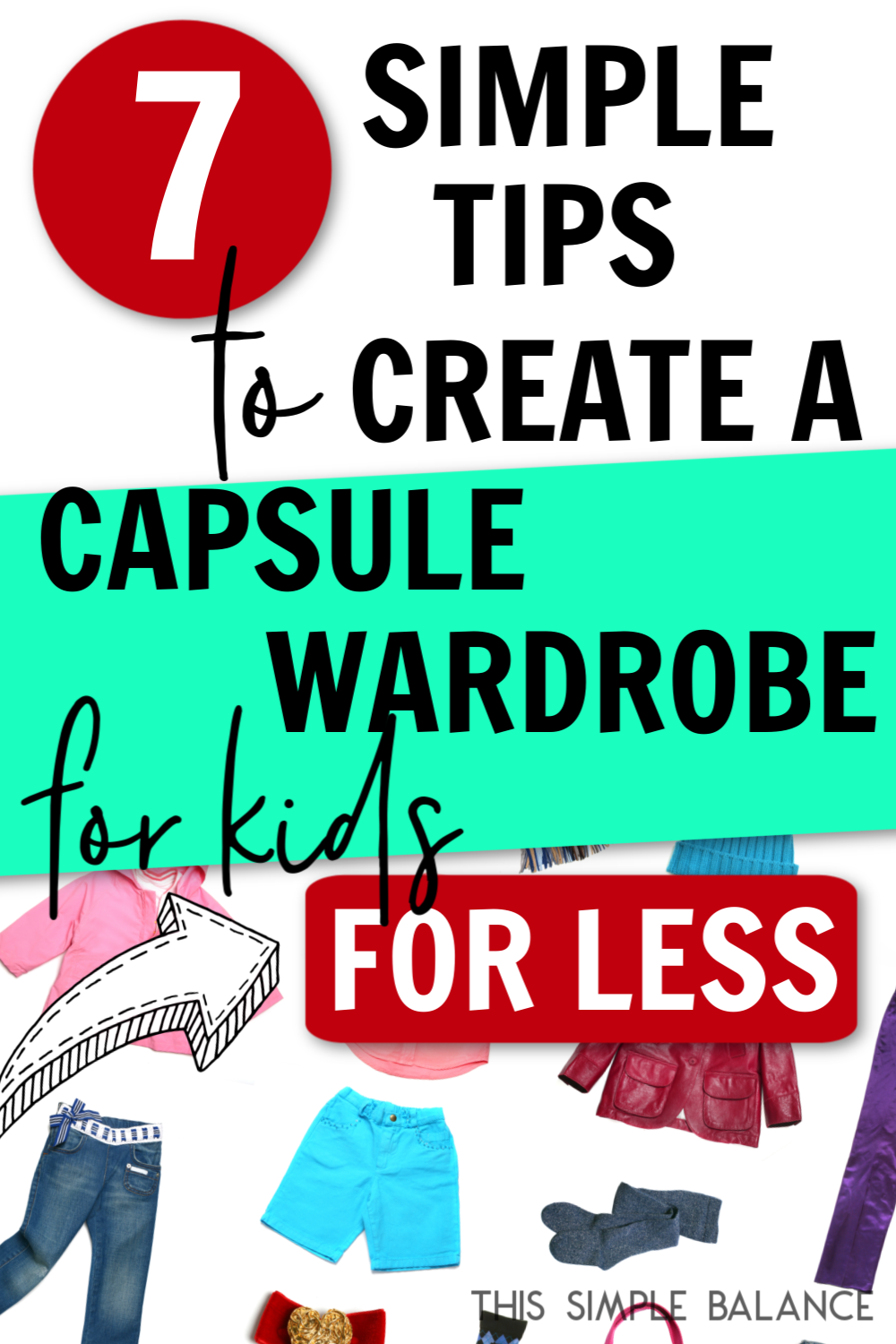 kids capsule wardrobe with text overaly