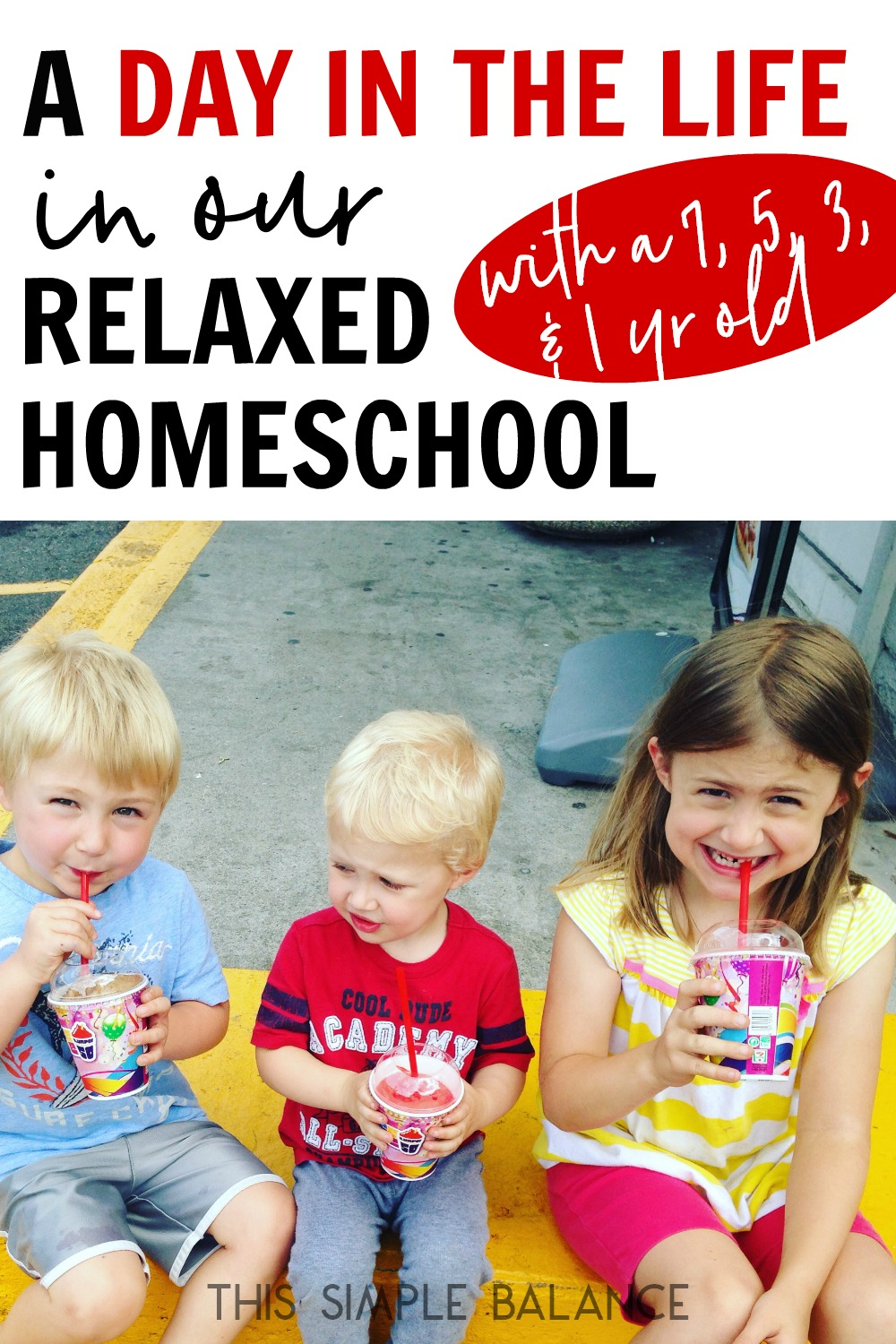 Relaxed homeschooling day in the life: curious about what life looks like in a relaxed homeschool? You'll love this day in the life with a 7, 5, 3 & 1 year old!