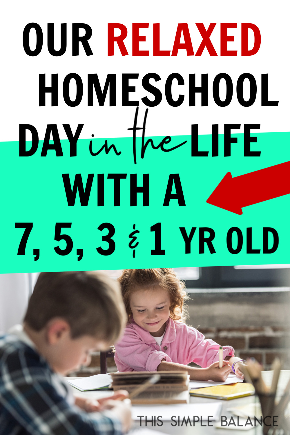 Relaxed homeschooling day in the life with 4 kids - ages 7 to 1 #homeschool