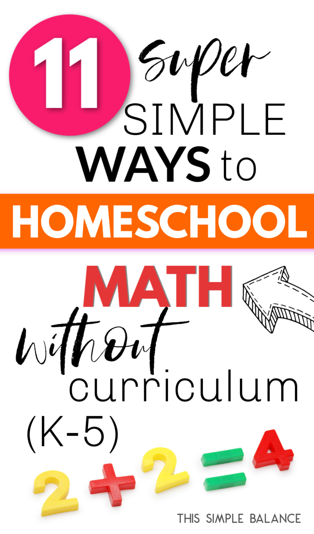 """simple math problem with text overlay """"11 super simple ways to homeschool math without curriculum"""""""