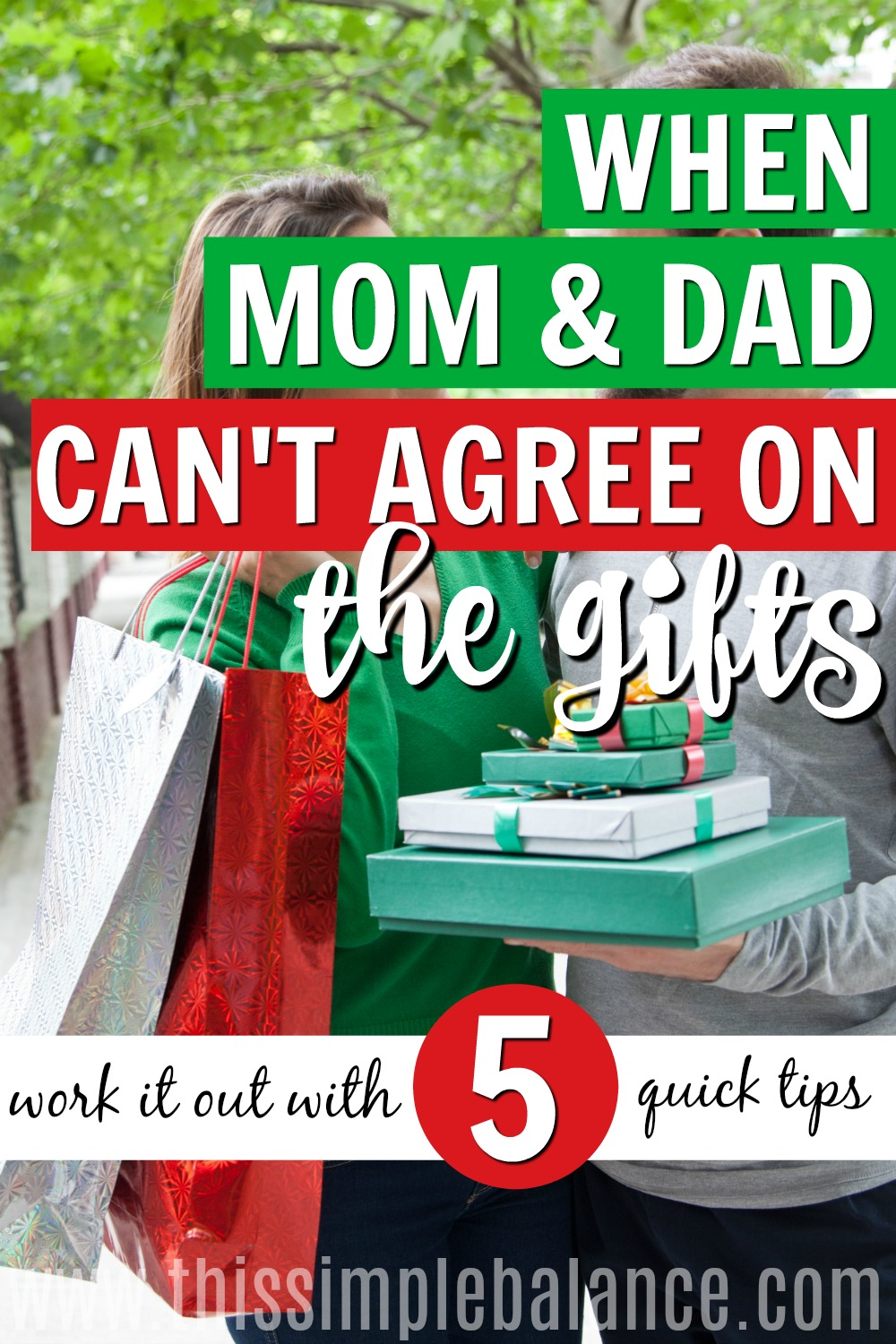 Are you and your spouse having trouble agreeing on what to get the kids for Christmas? Try these 5 quick tips to work it out! #Christmasgiftsforkids