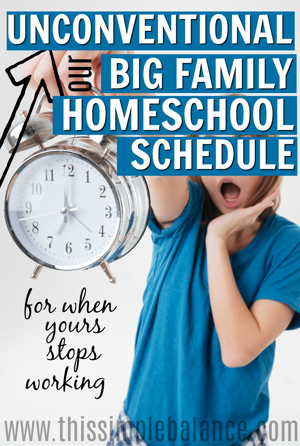 Are you frustrated trying to find a homeschool schedule that works for multiple ages? Let our big family homeschool schedule inspire you to think outside the box. Homeschooling multiple kids with different ages isn't impossible. It just takes creativity and the courage to experiment! #bigfamilyhomeschoolschedule #homeschoolschedulemultiplekids