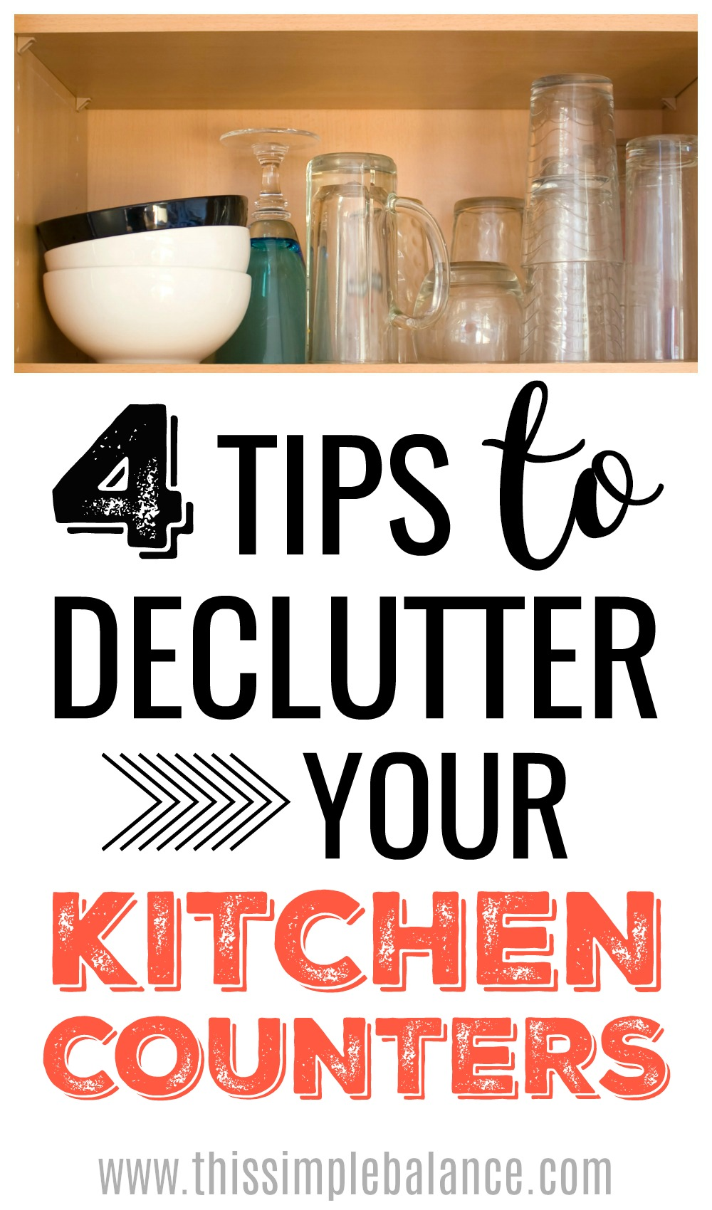 Decluttering your kitchen countertops can be a real challenge! Learn how to declutter those kitchen counters and how it really will change your life! #decluttering