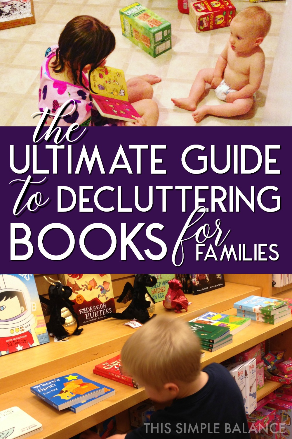 How to declutter books when you have kids: 6 fears parents face (and why you needn't worry), and 7 helpful questions for decluttering your books #declutteringideas