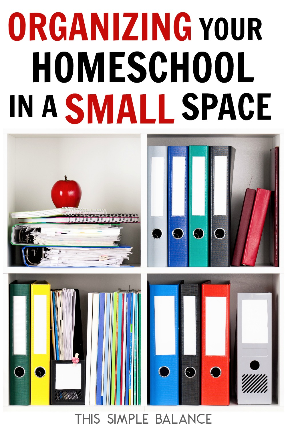 Keeping your homeschool organized when you live in a small home can be challenging. I know what it's like to homeschool without a dedicated homeschool room. It CAN be done! Check out these ideas to start getting organized.
