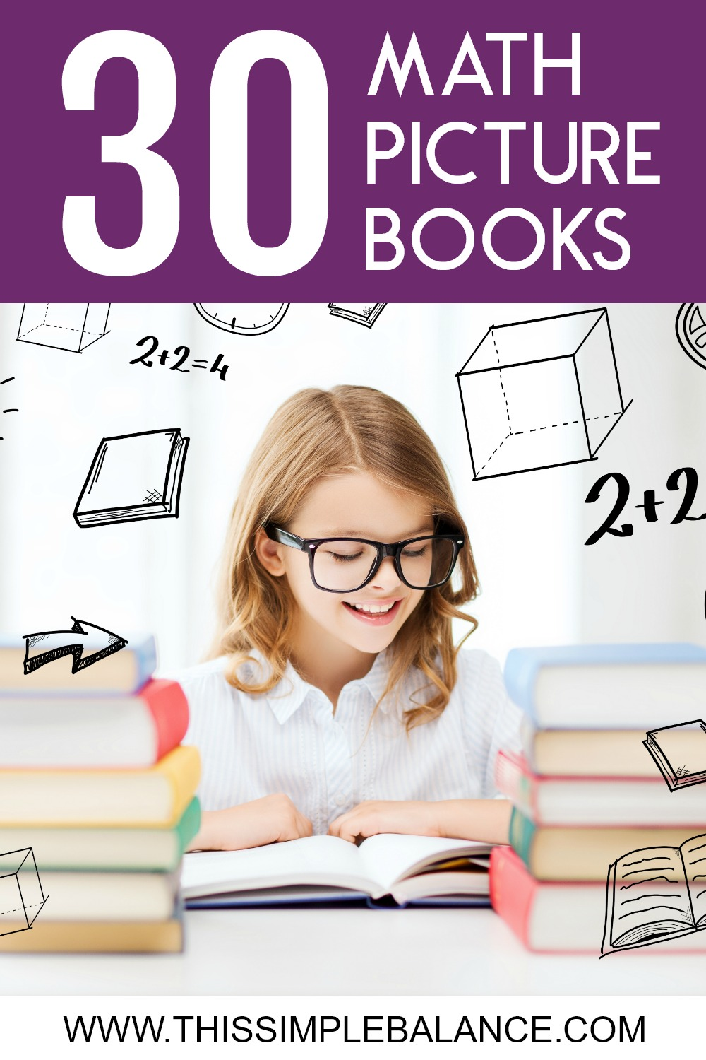 30 Math Books for Kids: Learn why you should use picture books as part of your homeschool math curriculum and get a list of 30 books to get your started (the math concept each book covers is listed).