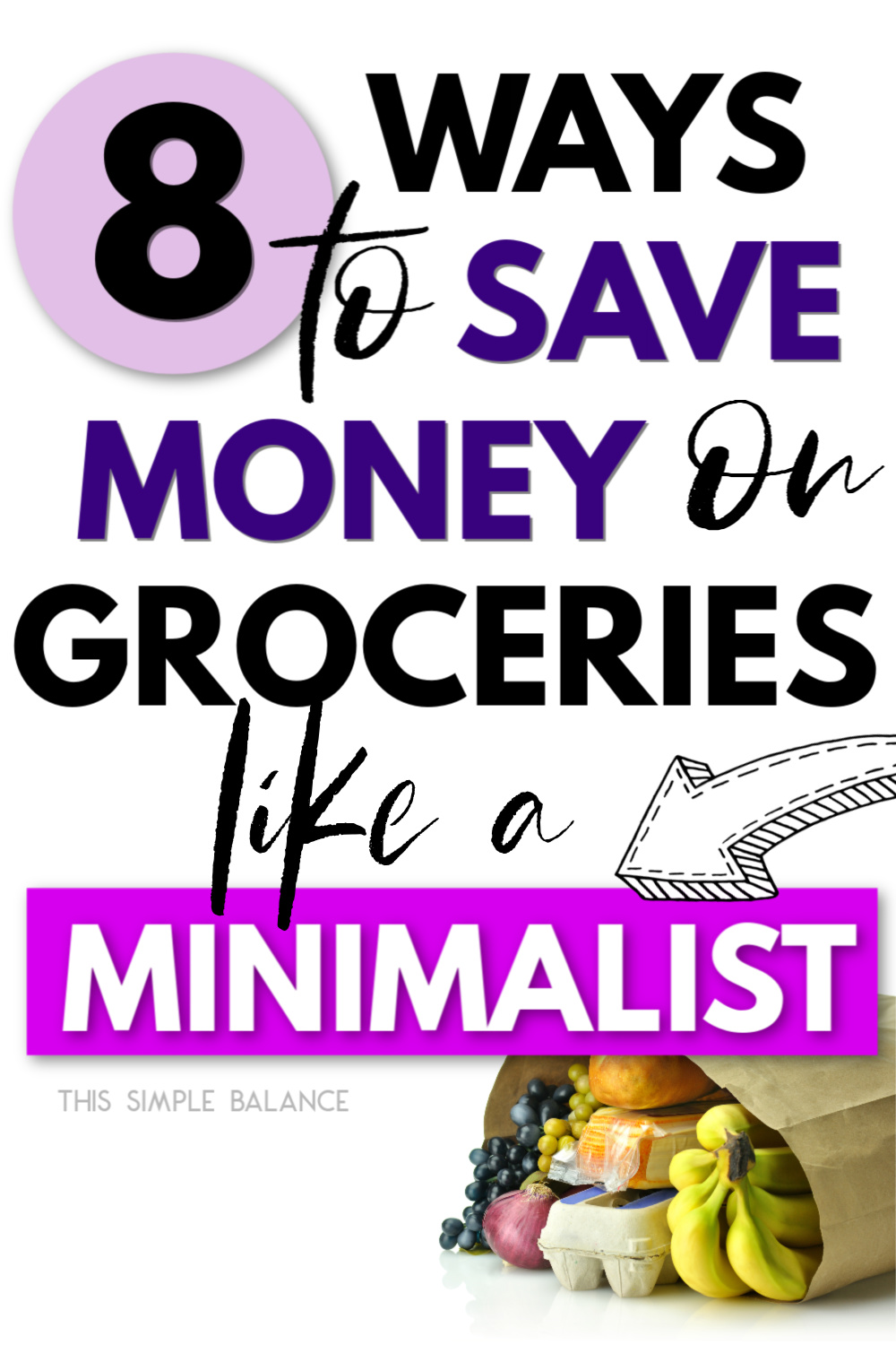 "picture of groceries in brown bag with ""How to Save Money on Groceries like a Minimalist"""