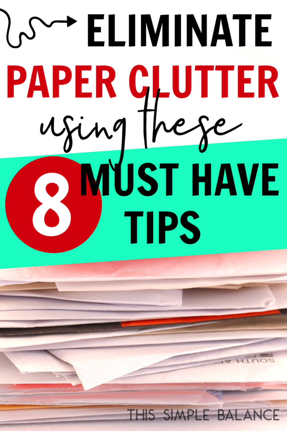 stack of paper clutter with text overlay