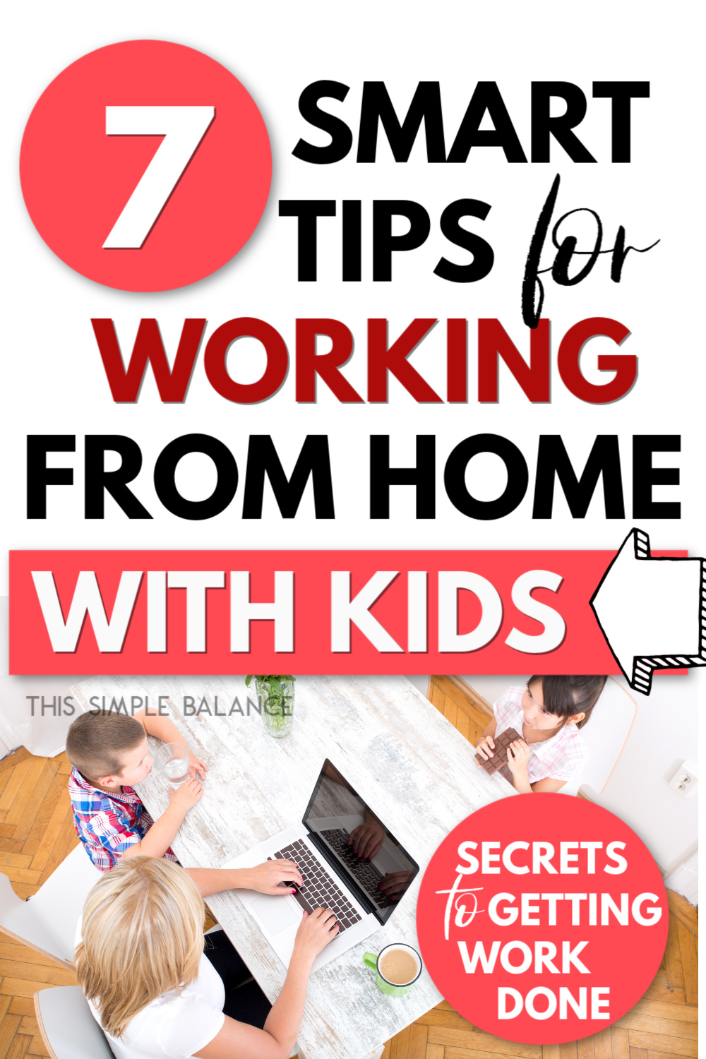 mom working from home with kids sitting at table