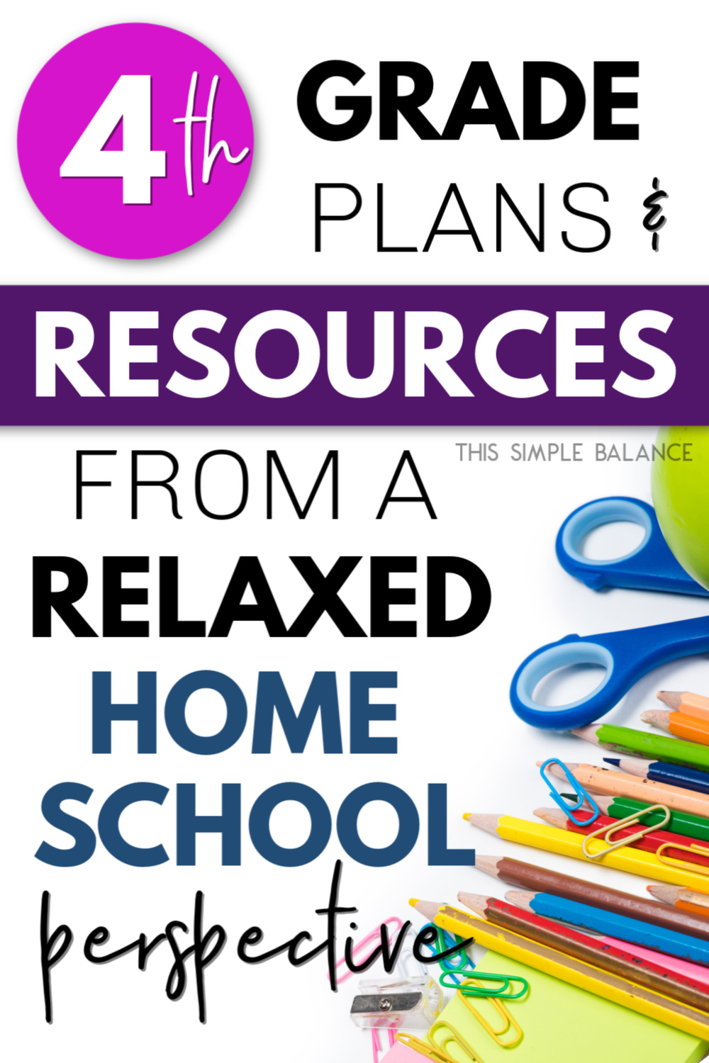 """homeschool supplies - pencils, scissors, and post-its with overlay """"4th grade plans and resources"""""""