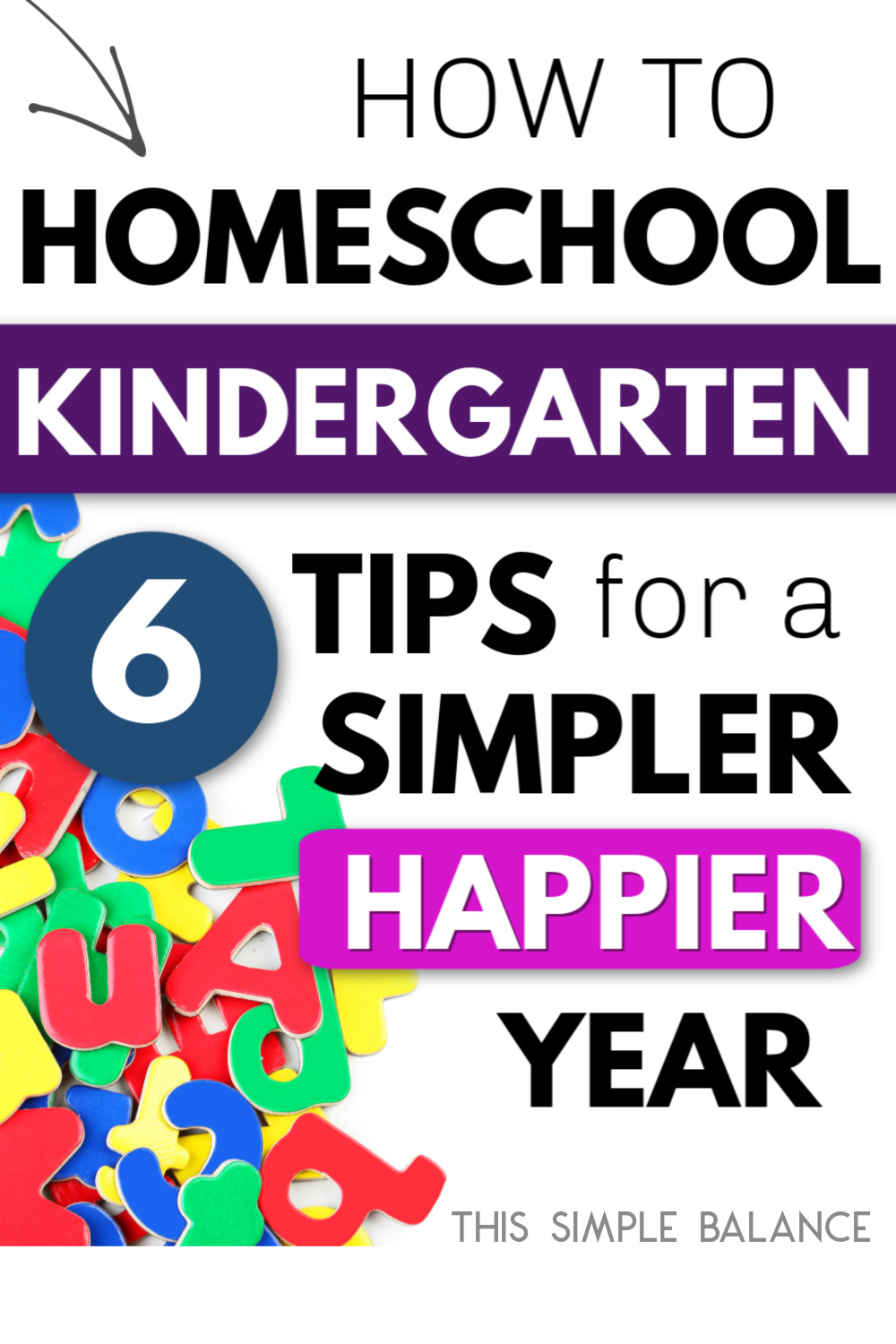 "text overlay ""how to homeschool kindergarten: 6 tips for a simpler, happier year"" with alphabet letters"