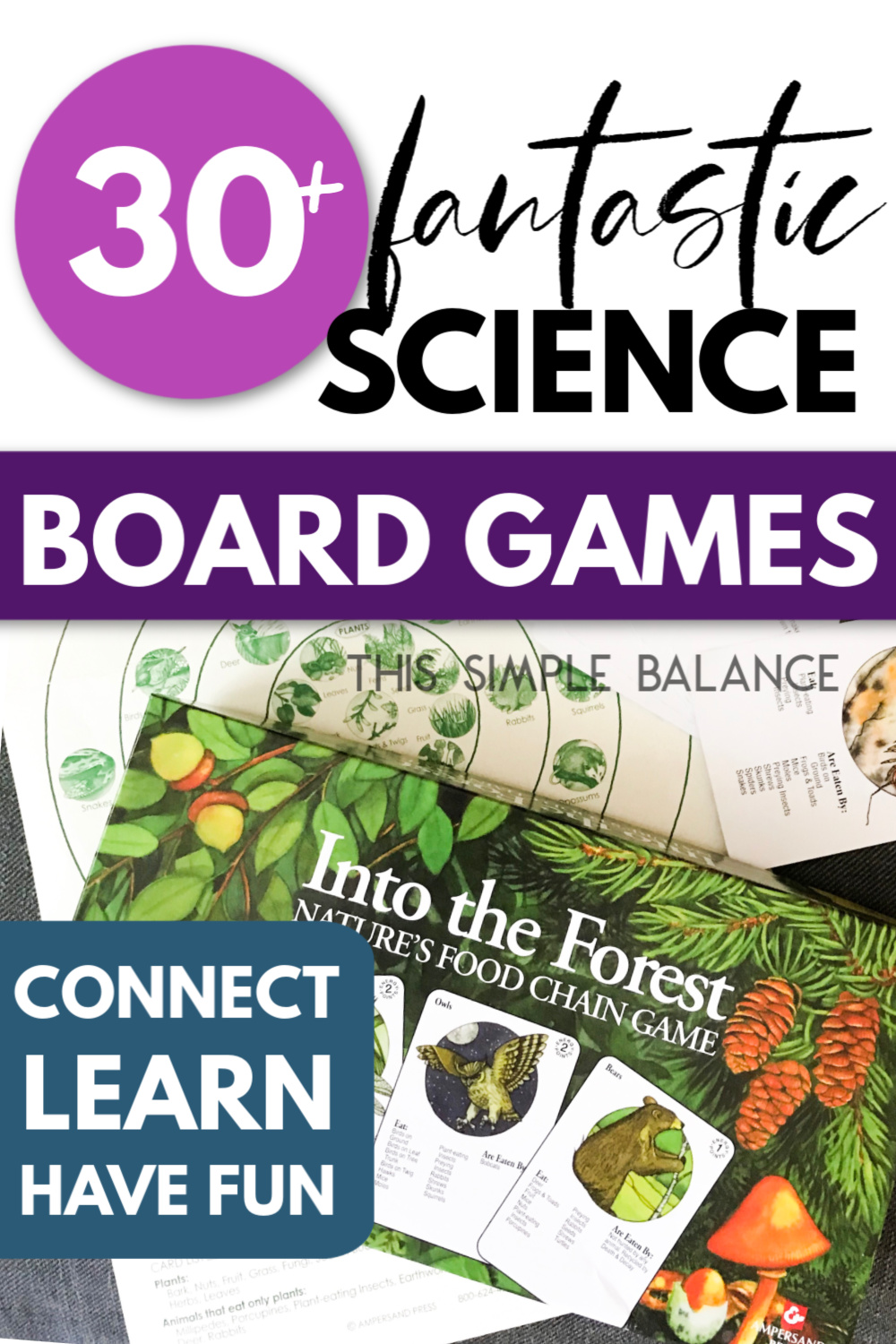 "picture of science game with text ""30+ fantastic science board games"""