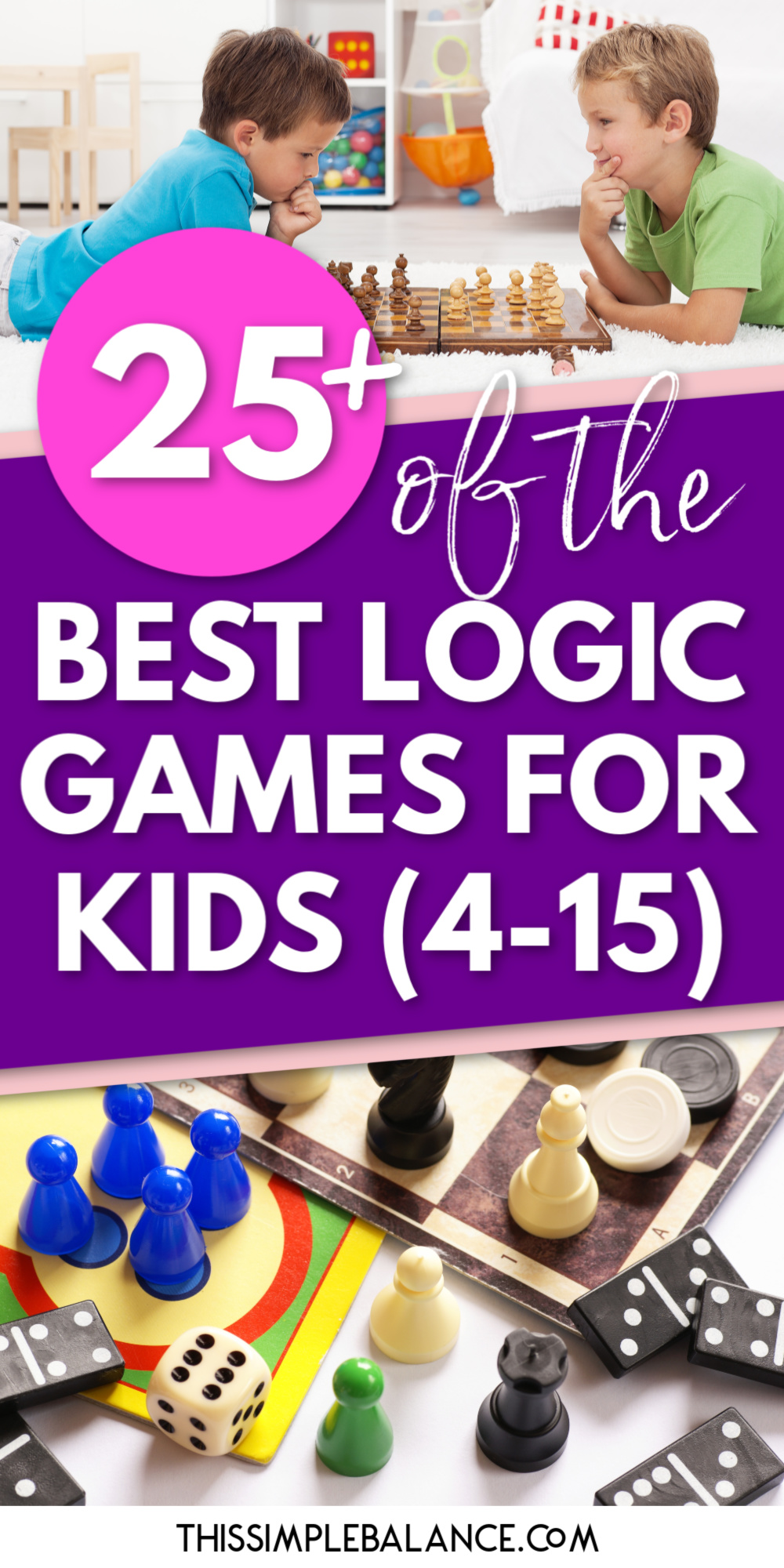 kids playing chess and other logic board game pieces