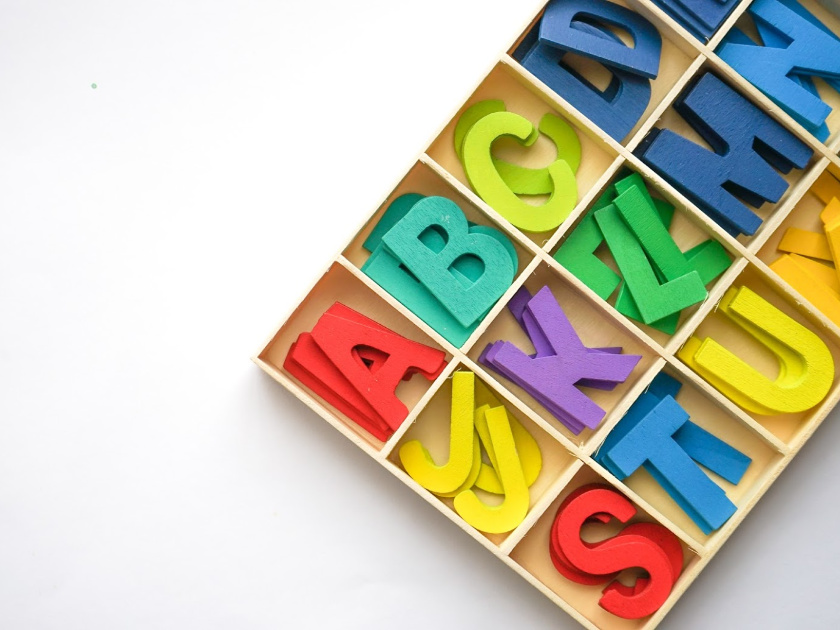 colorful letters sorted by letter