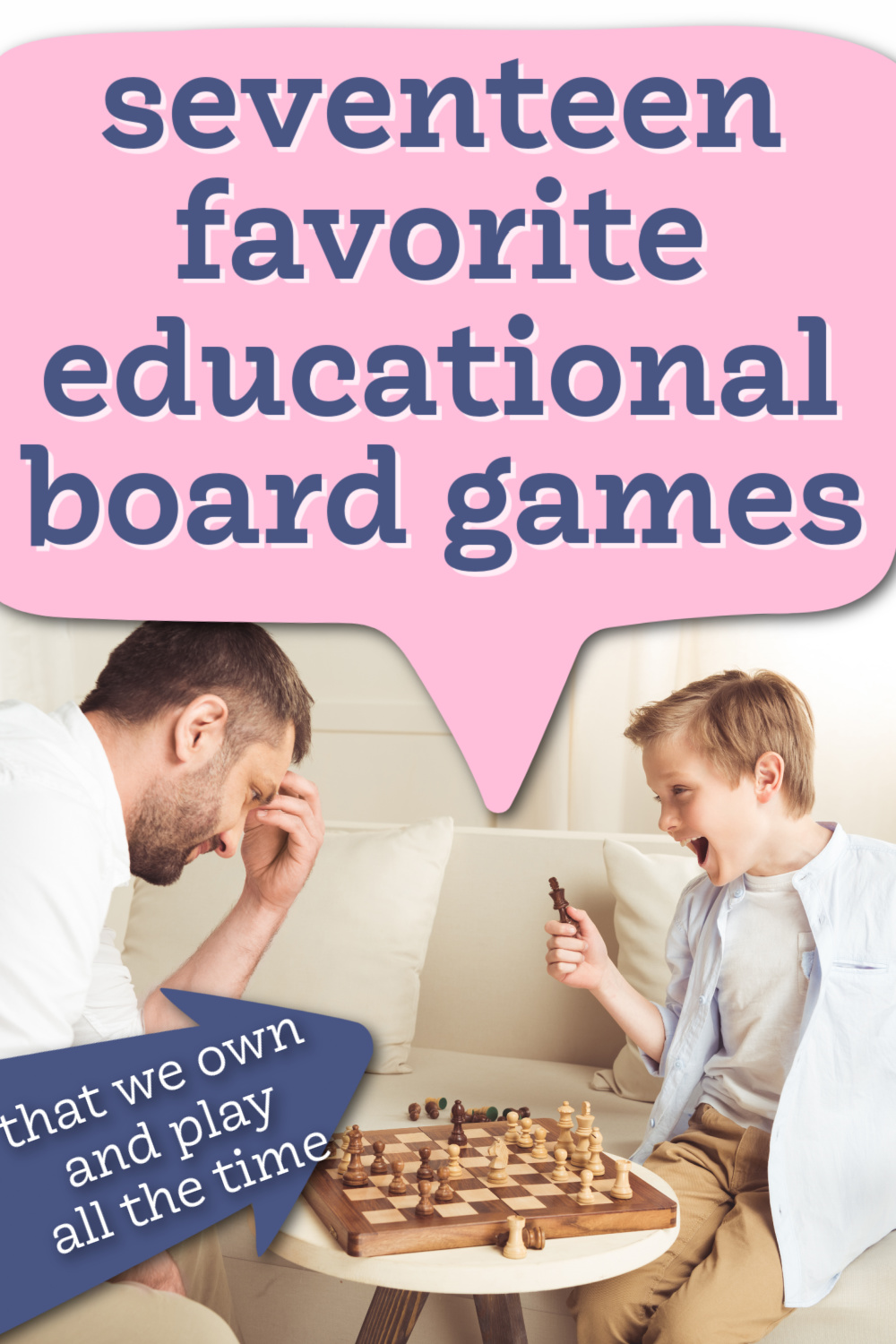 father and son playing educational board games together