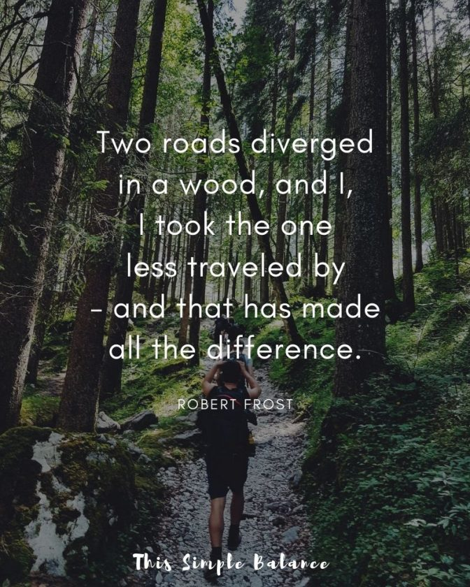 hikers walking through the deep woods, quote overlay