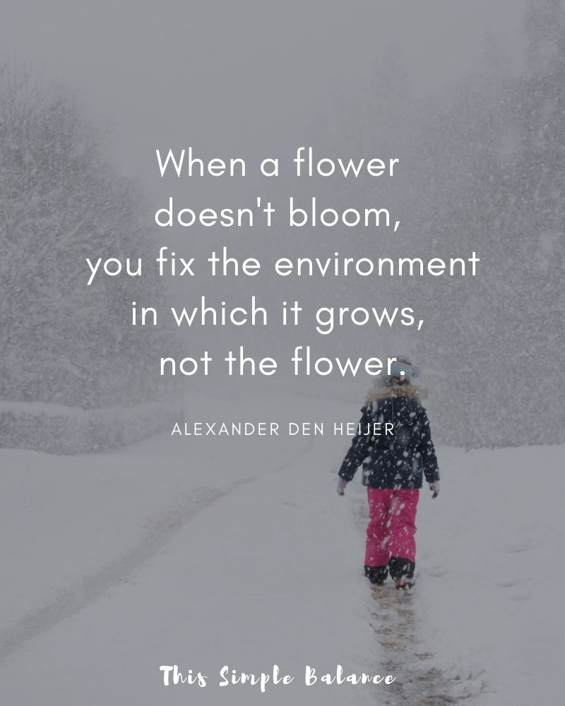 child walking in snow, quote overlay