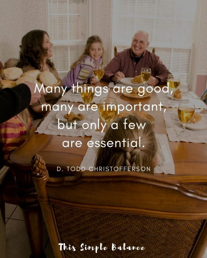 family eating dinner together, with quote overaly