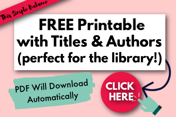 "Text Overlay ""Free Printable with Titles & Authors: Click Here & PDF Downloads Automatically"""
