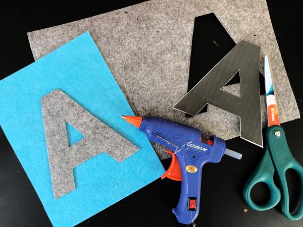 ABC banner with glue gun