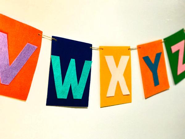 diy alphabet banner, letters V through Z