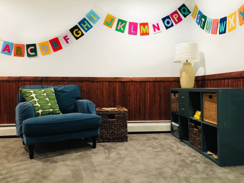 playroom with DIY alphabet banner