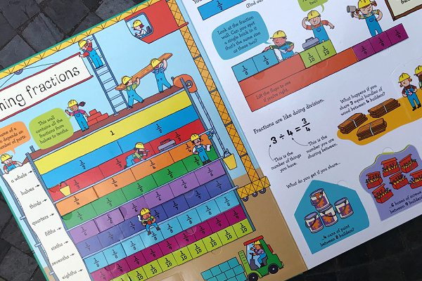 page of lift the flap fractions and decimals Usborne book
