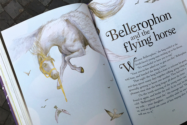 Bellerophon and the flying horse first page in Usborne Book of Greek Myths