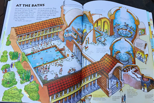 """""""At the Baths"""" page in Time Traveler book"""
