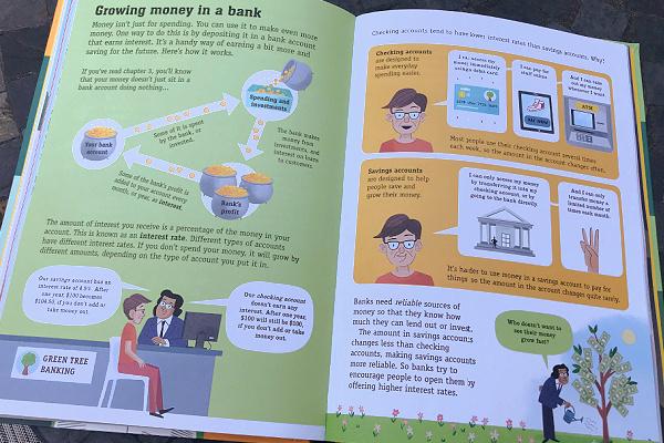 """""""Growing money in the bank"""" page in Usborne's Understanding Money book"""