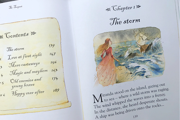 first page of the first chapter in the tempest in Usborne Illustrated Stories from Shakespeare